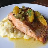 Grilled Salmon with Lemon Cream Sauce